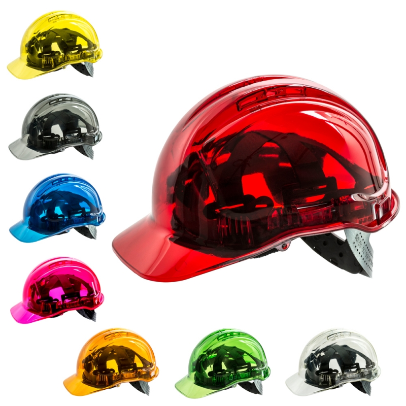 Transparenter Schutzhelm ROT Bauhelm Kopfschutz Arbeitshelm