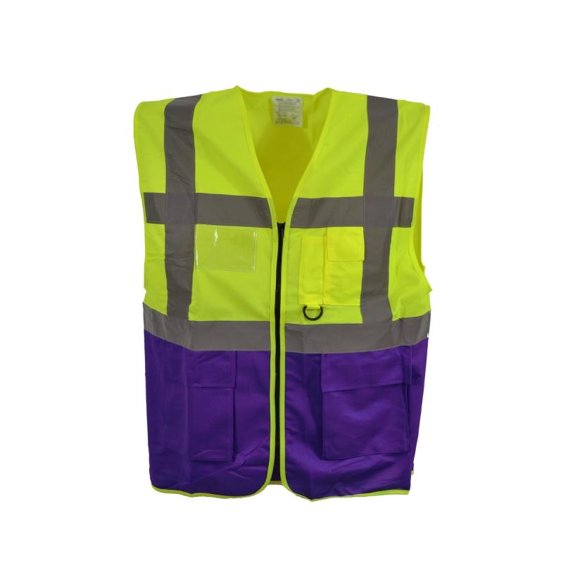 yoko warnweste executive gelb violett mit vielen taschen und rei s. Black Bedroom Furniture Sets. Home Design Ideas