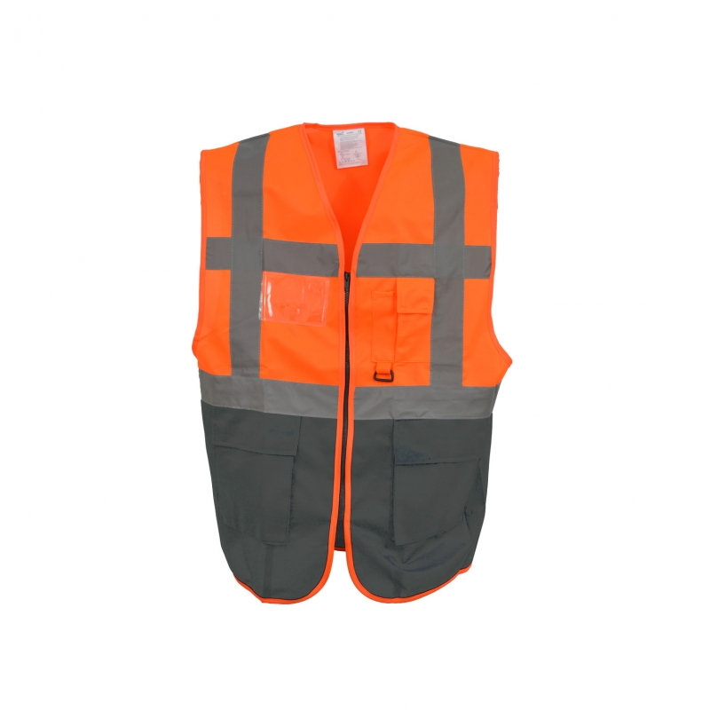 yoko warnweste executive orange grau mit vielen taschen und rei. Black Bedroom Furniture Sets. Home Design Ideas