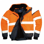 Kontrast Warnschutz Bomberjacke 3 in 1 EN 20471 / EN 343 orange/navy