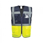 Warnweste Executive - two tone marine / gelb mit Aufdruck