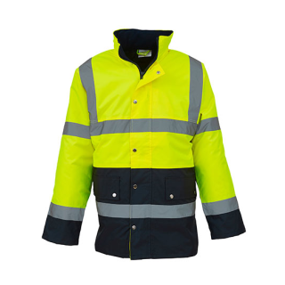 High Visibility Two-Tone Motorway Jacket Gelb/navy EN ISO20471