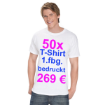 50x T-Shirt Fruit of the Loom  weiß mit 1-fbg. Druck