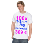 100x T-Shirt Fruit of the Loom weiß mit 1-fbg. Druck