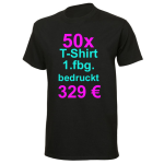 50x T-Shirt Fruit of the Loom schwarz mit 1-fbg. Druck